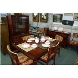 1960's original finish nine piece dining room suite made by Victoriaville including table with two l