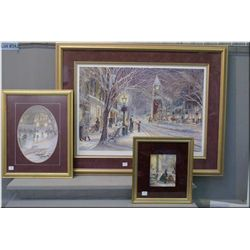 """Three framed Trisha Romance prints including limited edition and pencil signed by artist """"Candleligh"""