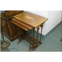 Set of three inlaid matched grain nesting table