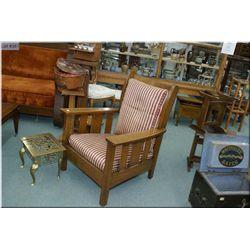 Antique quarter cut oak Mission style armchair