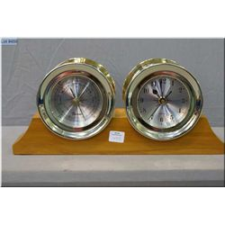 A ship style quartz clock and barometer