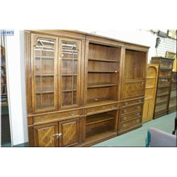 Three section Thomasville wall unit with illuminated sections