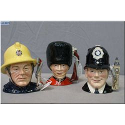 """Three small Royal Doulton character jugs including """"The Fireman"""" D6839, """"The Guardsman D6771 and """"Th"""