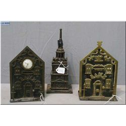 Three vintage cast and brass banks including tower bank