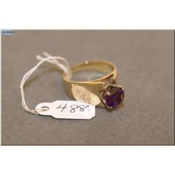 Ladies 14kt yellow gold and 1.65ct amethyst solitaire ring. Retail replacement value $815.00