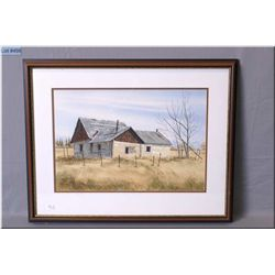 """Framed original watercolour of a rural farmhouse signed by artist Nick Prings 14"""" X 21"""""""