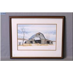 """Framed original watercolour painting of a rural farm house by artist Nick Prings 14"""" X 20"""""""