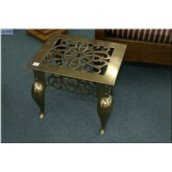 Antique English brass fireside bench