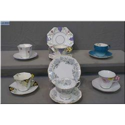 A selection of collectible tea cups and saucers including Melba bone china and Royal Albert etc.