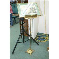 Telescoping brass music stand and a framed block cut Oriental print