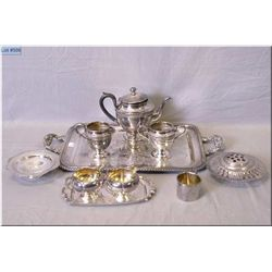 Selection of silverplate including tea service with tray etc.