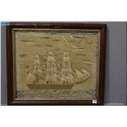 """Framed antique weaving depicting a tall ship picture, 16"""" X 20"""""""