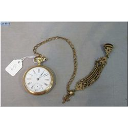 Waltham 17 jewel pocket watch in gold filled case with watch chain and jewelled fob, note working at