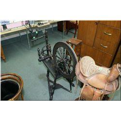 Antique spinning wheel with ebonized finish