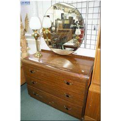 Three drawer waterfall mirrored dresser and a walnut chiffarobe