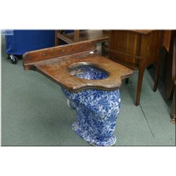 Antique English flo-blue Doultons Patent, London and Paisley toilet plus wooden seat
