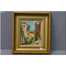 "Framed oil on board painting of a Venetian gondola scene signed by artist R. Ryley 9"" X 8"""