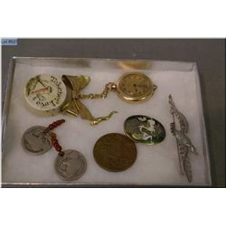 A selection of vintage jewellery and collectibles including a ladies gold filled Elgin watch, workin