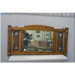 "Antique quarter cut oak Mission style wall mirror with coat hooks, overall dimension 20"" X 40"""