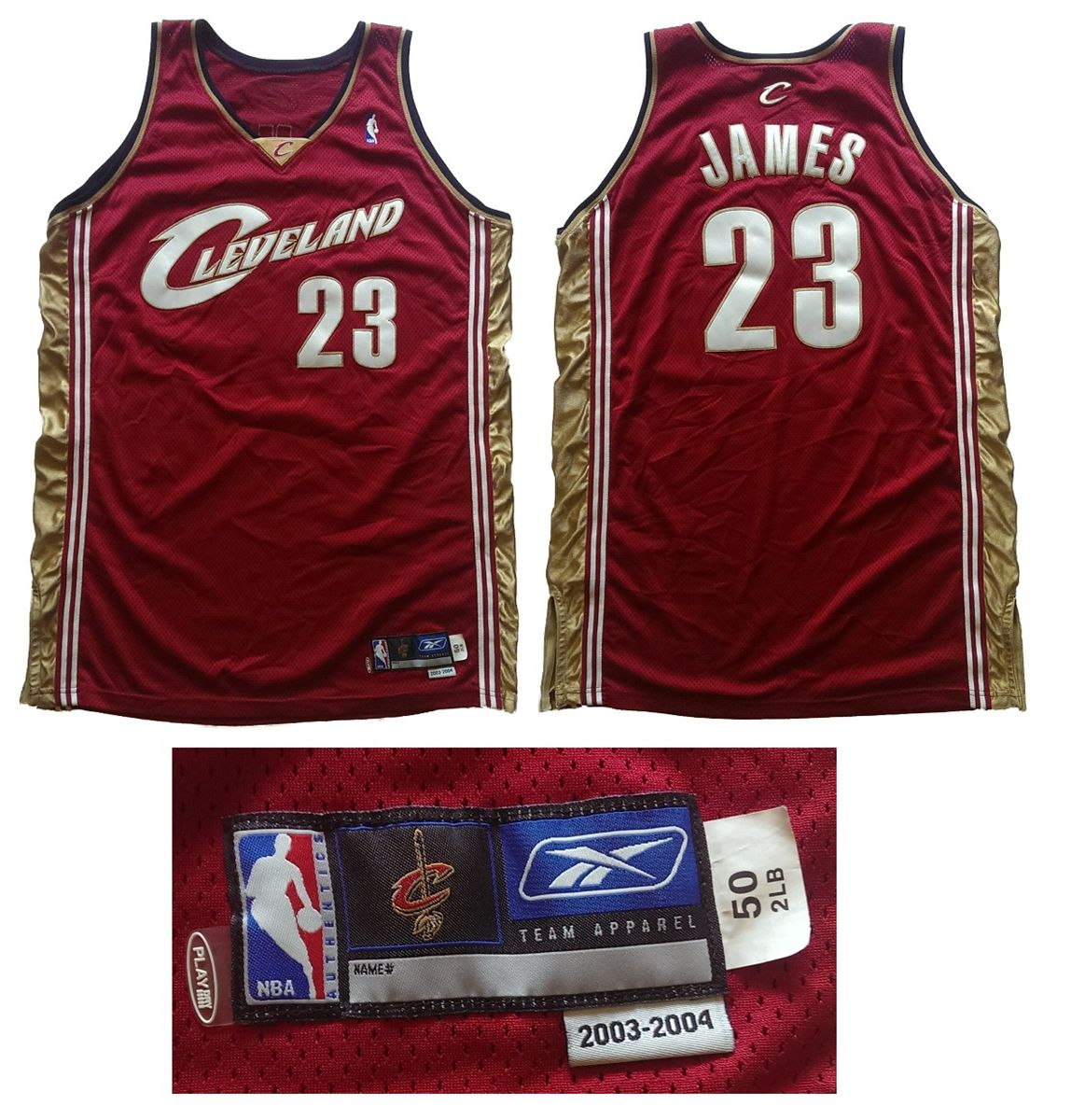 big sale 9302c 56f9e Lebron James 2003-04 Cleveland Cavaliers Rc Game Worn ...