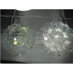 2 Pressed Glass serving plates