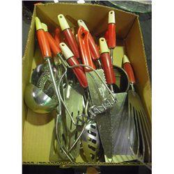Vintage Red Handles Kitchen Utensils