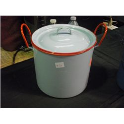 Pale Blue and Red Enamel ware Pot