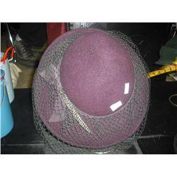PurpleFelt hat w/Veil and Stand