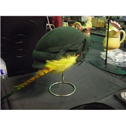 Green Felt Hat w/ Feather ( no Label) and Stand