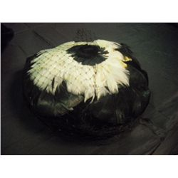 Black/White Feather Hat w/Veil