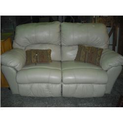 Leather Loveseat Dual Rocking w/2 Pillows