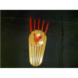 Rooster Knife holder w/ Knives