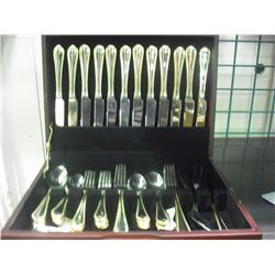 12 Setting Stainless Gold Trimmed Flatware