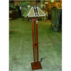 Mission Floor Lamp w/Stained Glass Shade