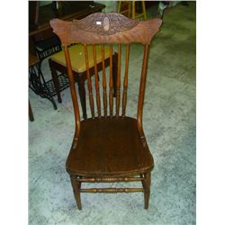Pressed Back Oak Spindle Chair