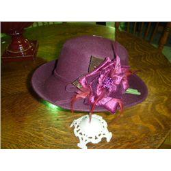 Burgandy Hat w/Velvet Flower (unmarked)