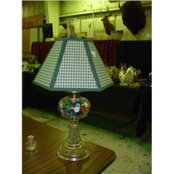 Oil Lamp full of Buttons w/Shade