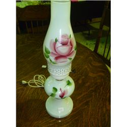 Hand painted White Chimmney Lamp