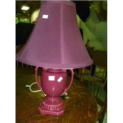 Burgandy Square Based Lamp