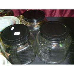 Black Lid Jar Canister (Set 3)