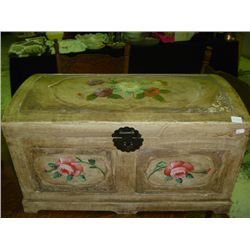 Hand Painted Wooden Trunk