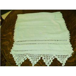 Linen Dresser Scarf w/ Crochet lace ends