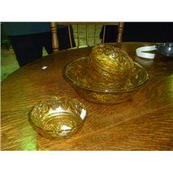 Amber Depression Glass Fruit Service for 5