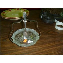 1950s Relish Bowl w/ silver plate holder and spoon