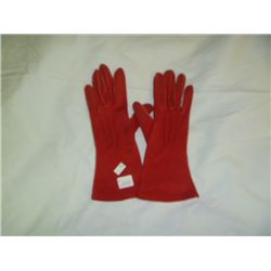 Vintage Red Cotton Ladies Gloves