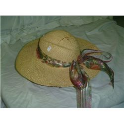 Straw Hat w/Floral Ribbon