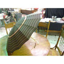 Vintage Umbrella Brown w/Green Stripes
