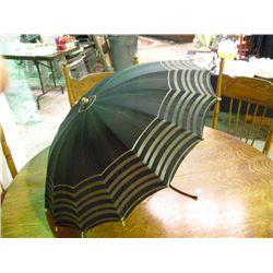 Vintage Umbrella Black w/Gold Stripes