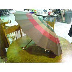 Vintage Umbrella Brown Green & Red