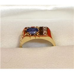 Men's ring, .75 ct oval sapphire with diamonds, 10 kt yellow gold